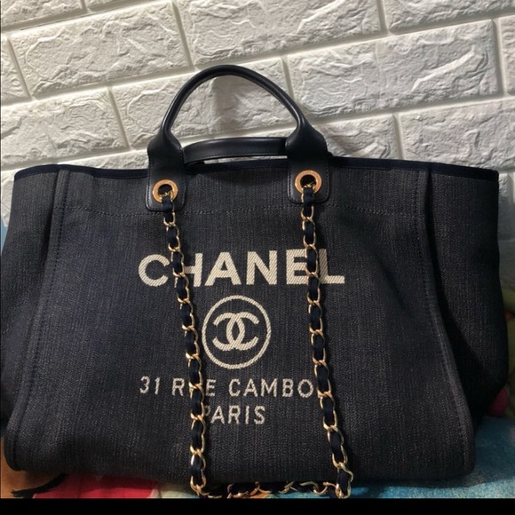 ab04028a Chanel deauville denim large tote bag